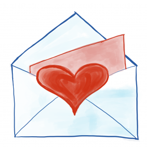 Envelope with red heart and message inside.