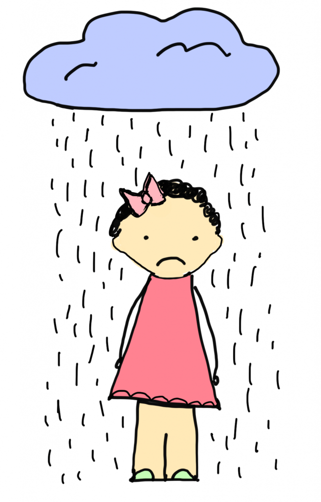 Drawing of a sad girl with a rain cloud.