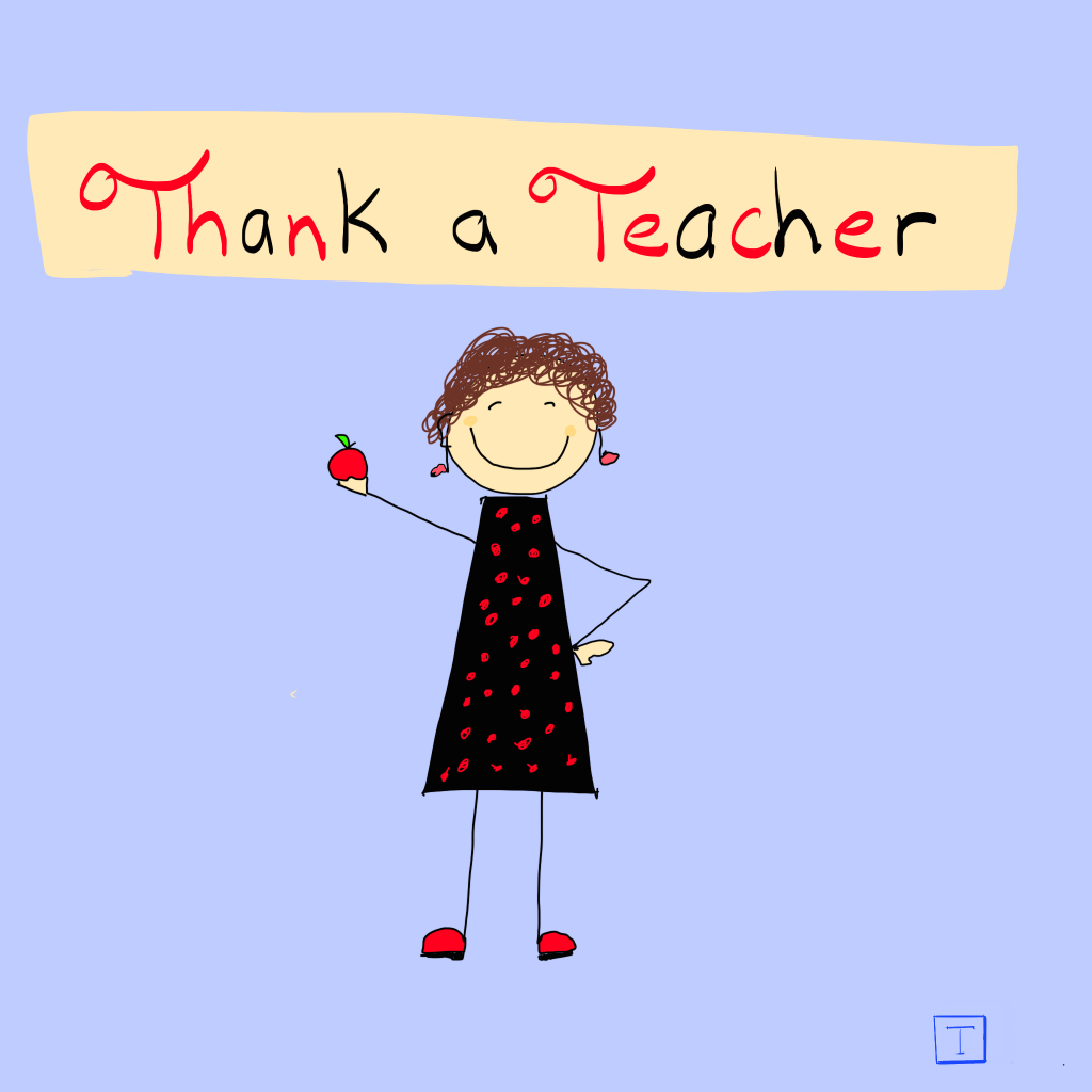 Female teacher stick figure with black and red dress